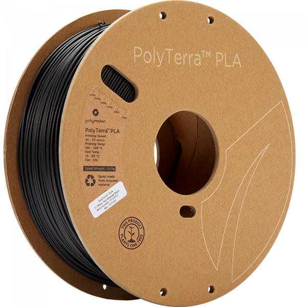 PolyTerra PLA Black 175 Spool Picture Asymmetric